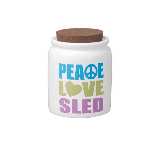 Trineo del amor de la paz plato para caramelo