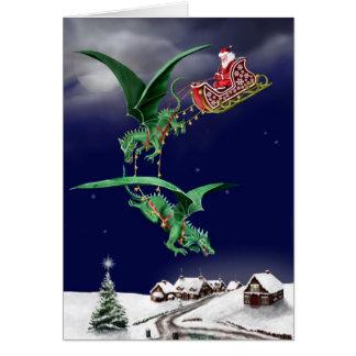 Trineo del dragón de Santas Tarjeta De Felicitación