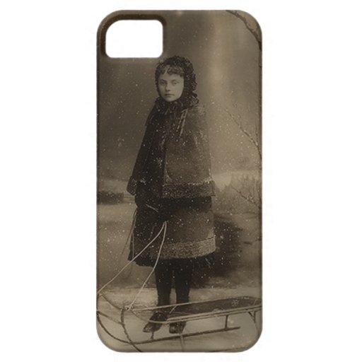 Trineo del invierno del chica del Victorian de la  iPhone 5 Fundas