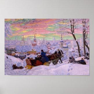 Trineo del invierno - día de fiesta de Shrovetide Póster