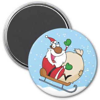 Trineo del montar a caballo de Papá Noel del negro Imán Redondo 7 Cm