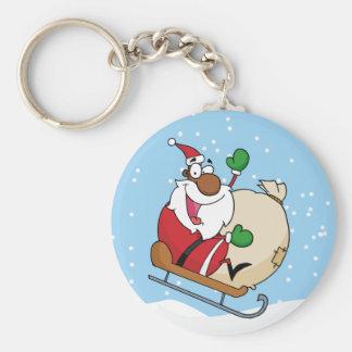 Trineo del montar a caballo de Papá Noel del negro Llavero Personalizado