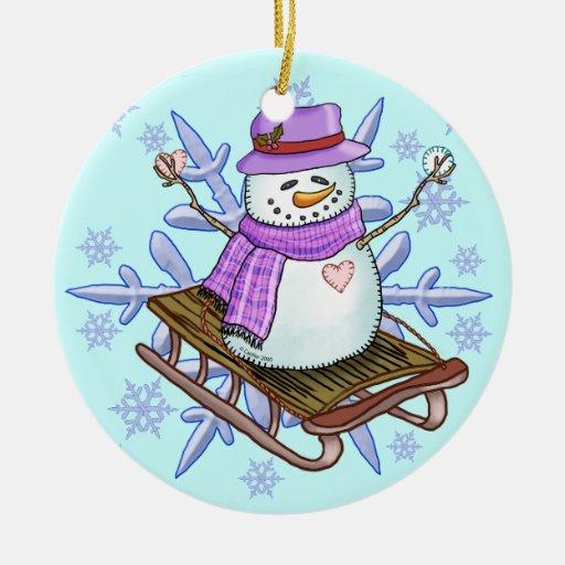 Trineo del muñeco de nieve ornamento para arbol de navidad