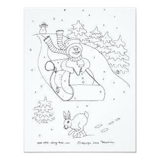 Trineo del muñeco de nieve invitación 10,8 x 13,9 cm