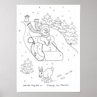 Trineo del muñeco de nieve póster