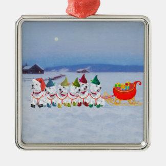 Trineo del navidad adorno navideño cuadrado de metal