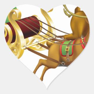 Trineo del navidad de Santa Pegatinas Corazon Personalizadas