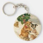 Trineo del perro del navidad llavero redondo tipo pin