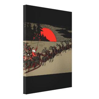 Trineo del reno de Papá Noel del vintage del Victo Impresiones En Lona
