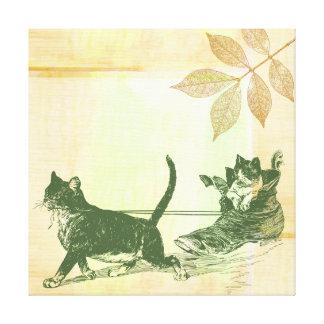 Trineo del zapato de los gatos impresion de lienzo