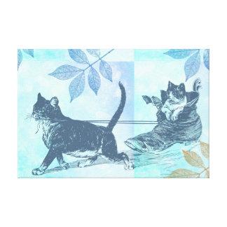 Trineo del zapato de los gatos lienzo envuelto para galerias