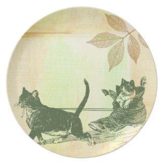Trineo del zapato de los gatos plato para fiesta