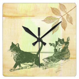 Trineo del zapato de los gatos reloj cuadrado