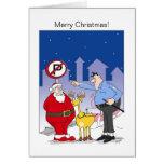 Trineo divertido de la tarjeta de Navidad de Santa