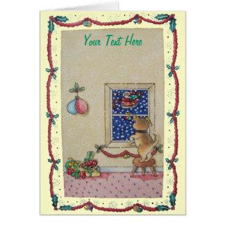 Trineo lindo divertido del navidad del perrito y tarjeta de felicitación