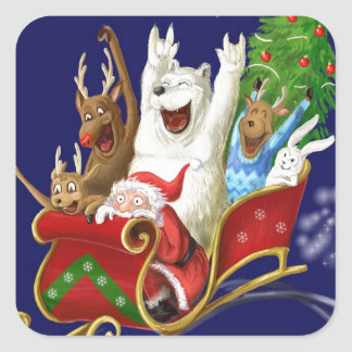 Trineo Papá Noel de dibujo digital divertido del Pegatina Cuadrada