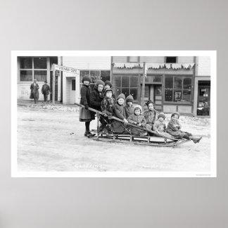 Trineo Seward Alaska 1912 de los niños Póster