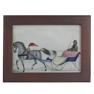 Trineo traído por caballo caja de recuerdos