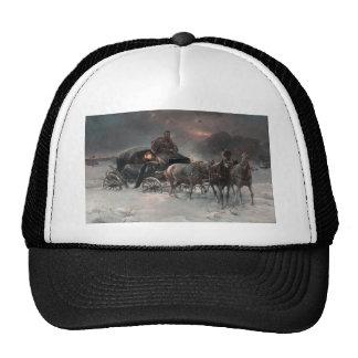 Trineo traído por caballo en la noche gorro de camionero