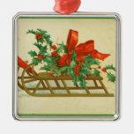 Trineo y acebo del Victorian del navidad Ornamente De Reyes