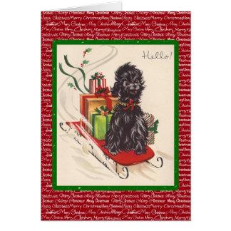 Trineo y perro del vintage tarjeta de felicitación