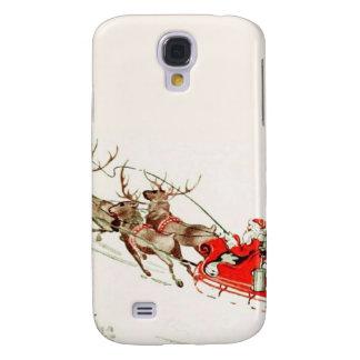 Trineo y reno de Santa del vintage en nieve Carcasa Para Galaxy S4