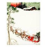 Trineo y reno de Santa del vintage en nieve Comunicado Personalizado