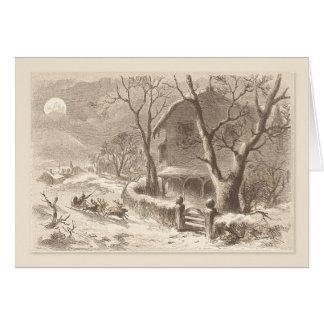 Trineos de Santa del vintage del navidad en Felicitación