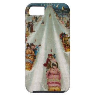 Trineos largos del vintage en una noche del invier iPhone 5 protector