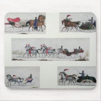 Trineos traídos por caballo rusos mousepad