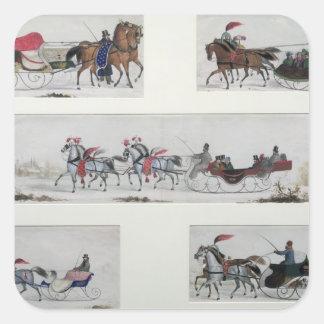 Trineos traídos por caballo rusos calcomania cuadradas personalizadas