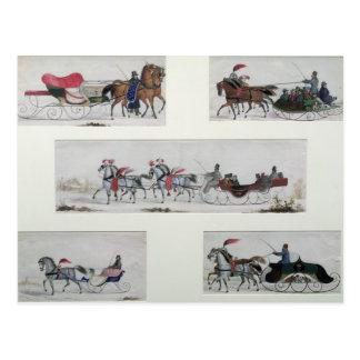 Trineos traídos por caballo rusos tarjeta postal