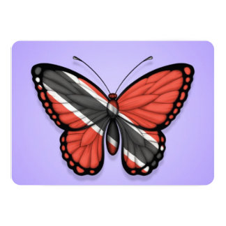 Trinidad and Tobago Butterfly Flag on Purple Card