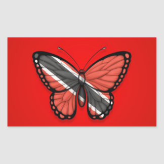 Trinidad and Tobago Butterfly Flag on Red Rectangular Sticker