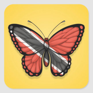 Trinidad and Tobago Butterfly Flag on Yellow Square Sticker