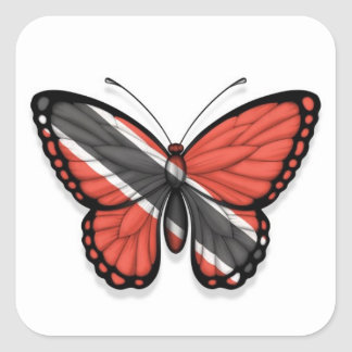 Trinidad and Tobago Butterfly Flag Square Sticker