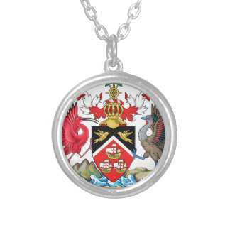 Trinidad and Tobago Coat of Arms Silver Plated Necklace
