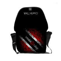 Trinidad and Tobago Dot Pattern Flag / Your Name Small Messenger Bag