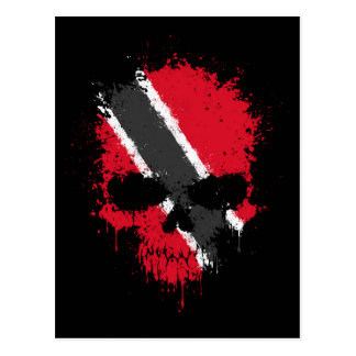 Trinidad and Tobago Dripping Splatter Skull Postcard