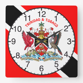 Trinidad And Tobago Flag and Coat Of Arms Square Wall Clock
