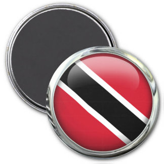 Trinidad And Tobago Flag Glass Ball 3 Inch Round Magnet