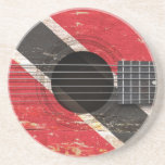 Trinidad and Tobago Flag on Old Acoustic Guitar Coaster
