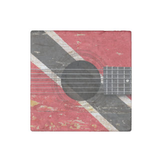 Trinidad and Tobago Flag on Old Acoustic Guitar Stone Magnet