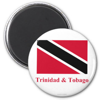 Trinidad and Tobago Flag with Name 2 Inch Round Magnet