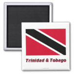 Trinidad and Tobago Flag with Name 2 Inch Square Magnet