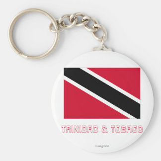 Trinidad and Tobago Flag with Name Basic Round Button Keychain