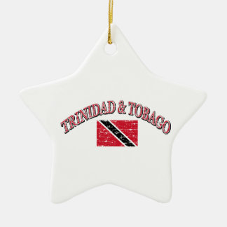 Trinidad and Tobago football design Double-Sided Star Ceramic Christmas Ornament