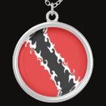 Trinidad and Tobago Gnarly Flag Silver Plated Necklace