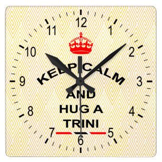 Trinidad and Tobago Keep Calm And Hug A Trini Square Wall Clock