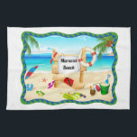 "Trinidad and Tobago Maracas Beach Towel<br><div class=""desc"">Trinidad &amp; Tobago kitchen towel with an awesome beach scene design featuring coconut trees, sand and sea, flip-flops, beach towel and lots more! This towel will no doubt bring back fond memories of your trips to Maracas beach.Change the background colour from white to any colour you like or leave it...</div>"